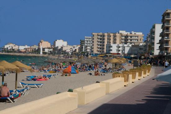 Blick über die Bucht von Ca´n Picafort mit seinen Hotels direkt in Strandlage.