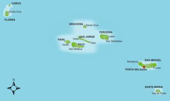 Karte der Azoren Inselgruppe