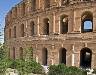 Das alte Amphitheater von El Djem nahe Monastir