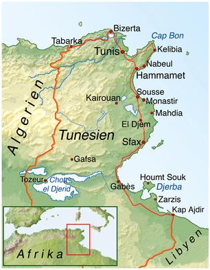 Die Karte von Tunesien zeigt Ihnen die Lage der Urlaubsorte Monastir, Sousse, Hammamet und der Insel Djerba in Tunesien