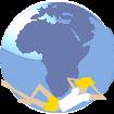 UrlaubLastMinute24.com Logo: Globus und relaxter Reisender